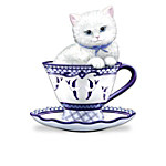 Poised Purr-fection Figurine Collection With Classic Blue Willow Designs