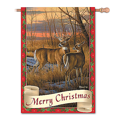 The Bradford Exchange Online - White-Tailed Deer Wildlife Art Flag Collection: Wild Tails Holiday Photo