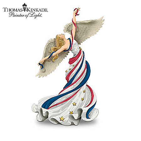 Thomas Kinkade Patriotic Angel Figurine Collection: Heavenly Anthem Of Pride