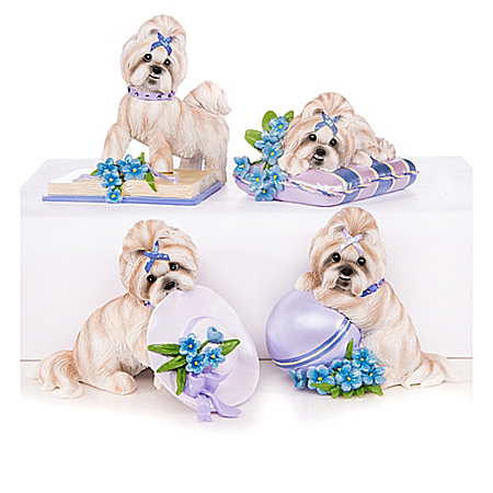 Shih Tzu Alzheimer's Support Figurine Collection: Pretty In Purple