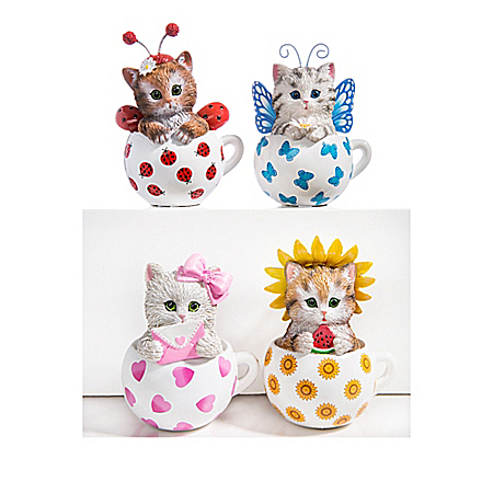 Kitten Ladybug Figurine Collection: Cups Of Affection