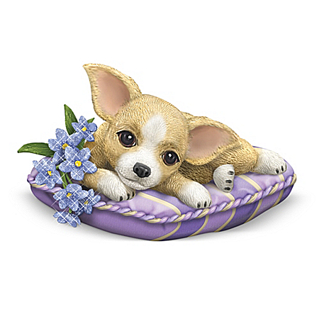 Alzheimer's Support Chihuahua Figurine Collection: Pretty In Purple