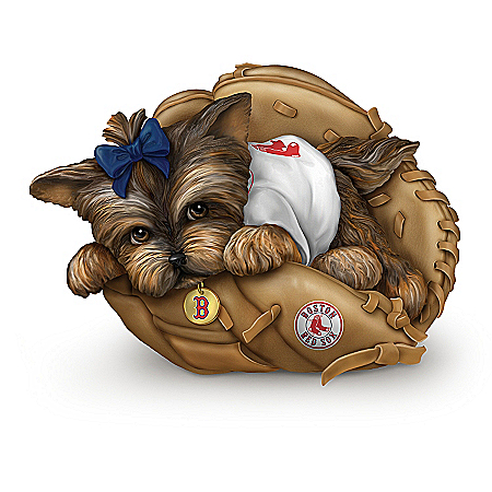 MLB Boston Red Sox Yorkie Figurine Collection: Furry Best Red Sox Fans