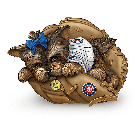 MLB Chicago Cubs Yorkie Figurine Collection: Furry Best Cubs Fans