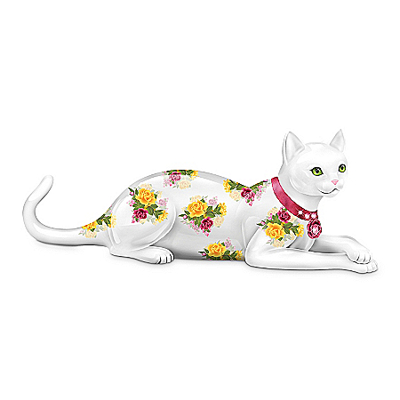 Rose-Patterned China Cat Figurine Collection: Elegant Blossoming Felines