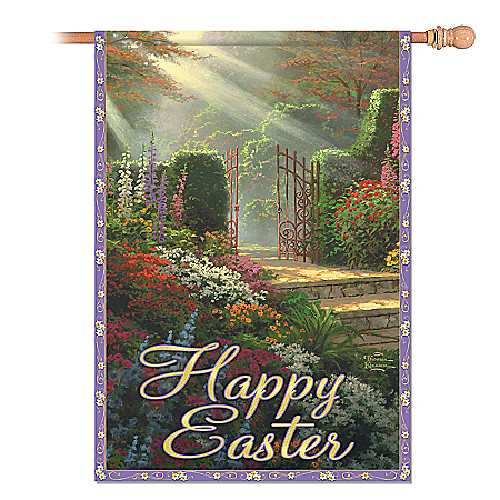 The Bradford Exchange Online - Thomas Kinkade Gateways Of Light Holiday Flag Collection Photo