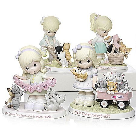 Precious Moments Porcelain Figurines: Purr-ecious Moments Together