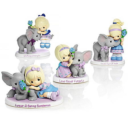Precious Moments Alzheimer's Support Girl with Elephant Figurine Collection