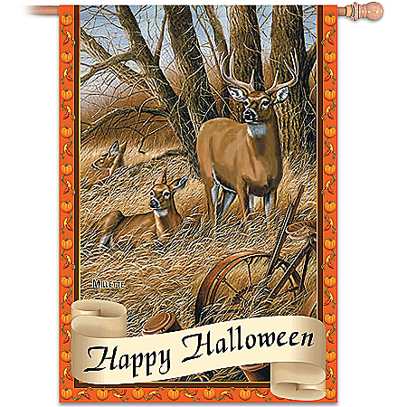 White-Tailed Deer Wildlife Art Flag Collection: Wild Tails Holiday