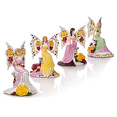English Bone China Rose Pattern Lady Figurine Collection: Hamilton Collection