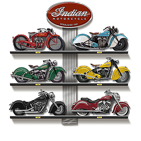Evolution Of The Great Indian Motorcycle Replica Sculpture Collection