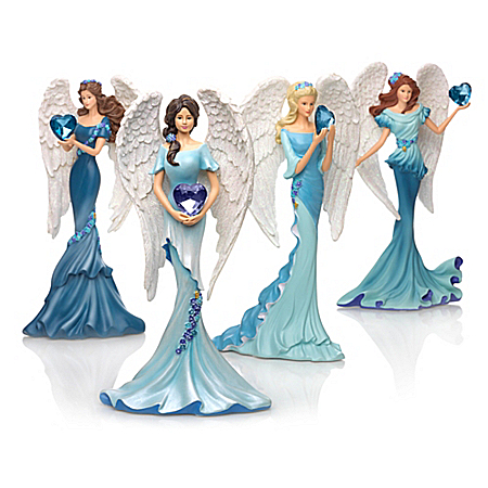 Thomas Kinkade Whispers Of Hope Angels Figurine Collection Supports Ovarian Health