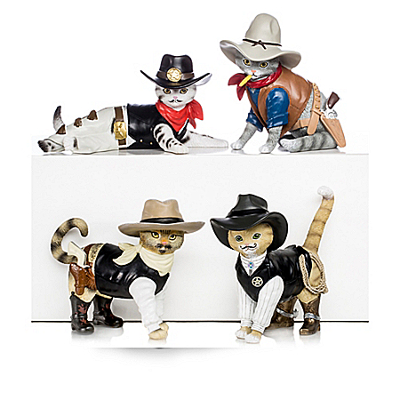 Spurs 'N Fur Kitty Cowboys Collectible Cat Figurine Collection