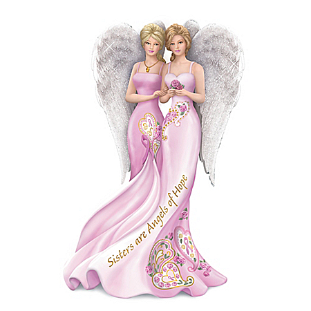 Hand-Painted Thomas Kinkade Angelic Sisters Of Hope Figurine Collection