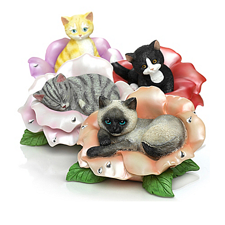 Blossoming Expressions Of Purr-fection Kitten Figurine Collection