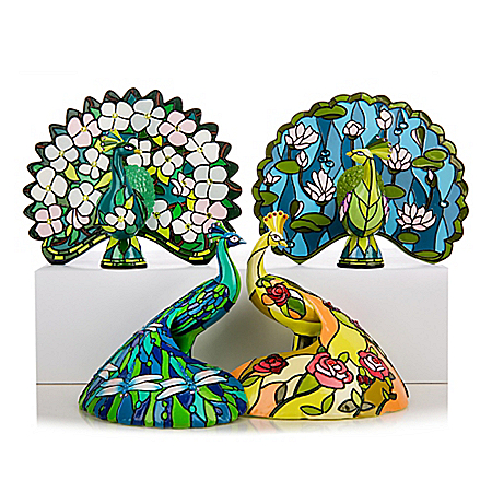 The Beauty Of Louis Comfort Tiffany-Style Stained Glass Peacock Figurine Collection