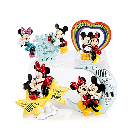 Disney Our Love Is Out Of This World Mickey Mouse And Minnie Mouse Figurine Collection