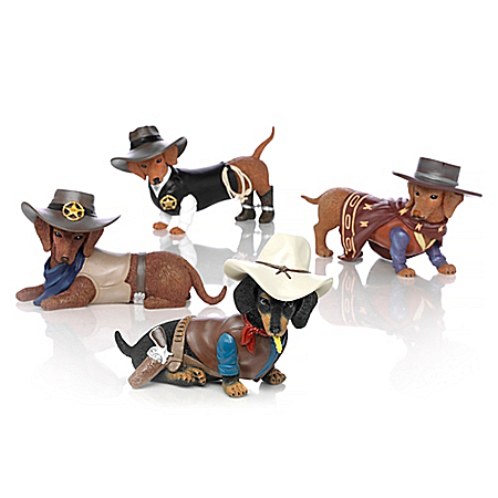 Spurs 'N Fur Dachshund Handcrafted Old West Figurine Collection