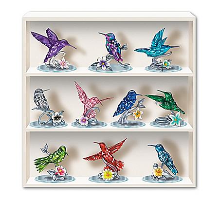 Lena Liu Gemstone Colored Crystalline Hummingbird Figurines with Display Case