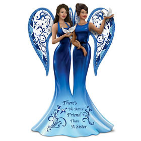 Keith Mallett Blue Willow Sister Angels Figurine Collection