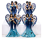 Keith Mallett Blue Willow China Inspired Angels Sister Figurine Collection