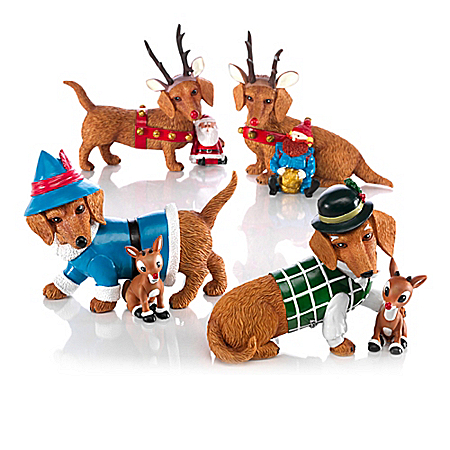 Rudolph The Red-Nosed Reindeer Happy Howl-idays Dachshund Figurine Collection