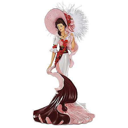 Thomas Kinkade Roses In Bloom Lady Figurine Collection