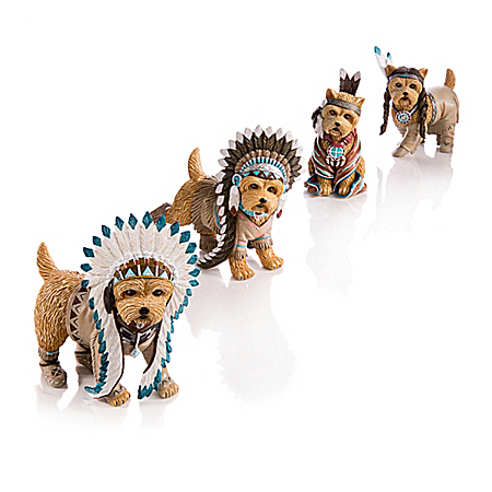 Feathers 'N Fur Native American Inspired Yorkie Figurine Collection