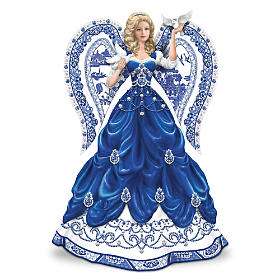 """""""Sparkling Blue Willow"""" Angel Figurine Collection"""