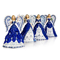 Sparkling Blue Willow China Pattern Angel Figurine Collection