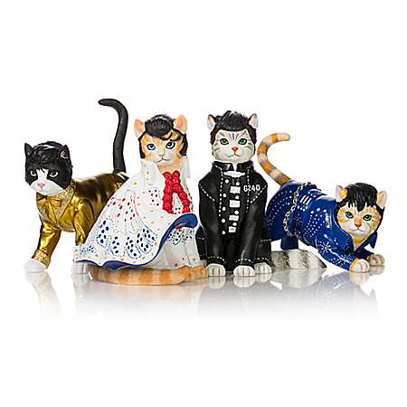 Elvis Presley-Inspired Purr-esley Cat Figurine Collection