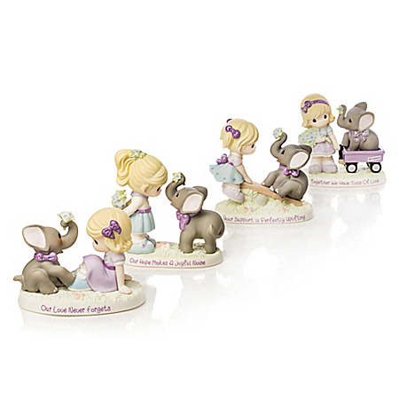 Precious Moments Porcelain Elephant Figurines Support Alzheimer's Research