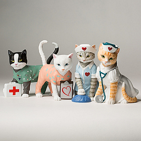Tender Purring Care Nurse Cat Figurine Collection