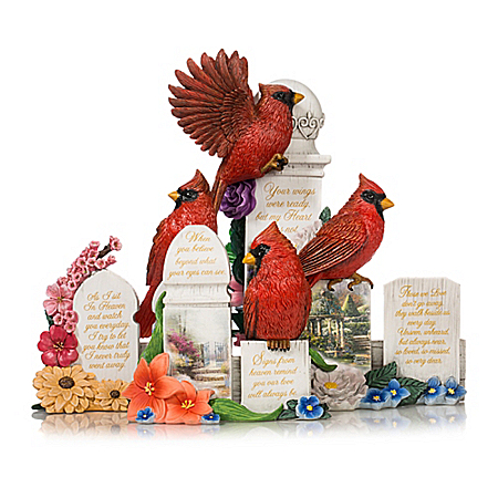 Thomas Kinkade Art Sculpted Cardinal Remembrance Figurines: Hamilton Collection