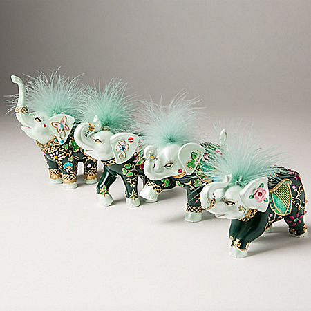 Margaret Le Van's Luck Of The Irish Hand-Painted Elephant Figurine Collection