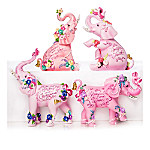 Sally Barlow's Elephants Of Beautiful Blessings Breast Cancer Awareness Figurine Collection