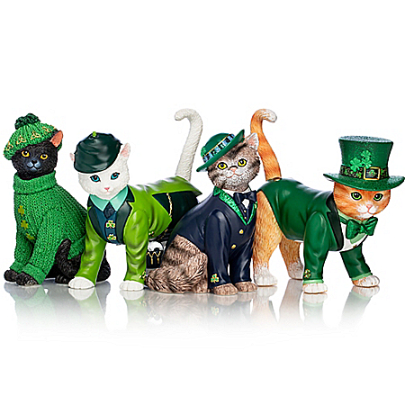 Blake Jensen Hand Painted Cat Figurines In Irish Attire with Glittery Shamrocks