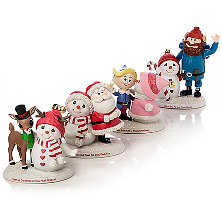 Precious Moments And Rudolph The Red-Nosed Reindeer: Snow Much Fun Together Hand-Painted Figurine Collection