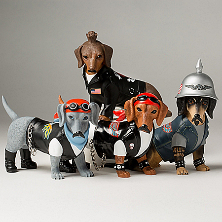Live Fur-ee And Ride Hard Biker Dachshund Figurine Collection