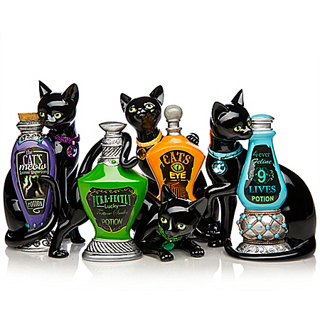 Blake Jensen Cat Figurine Collection with Faux Gems: Hamilton Collection