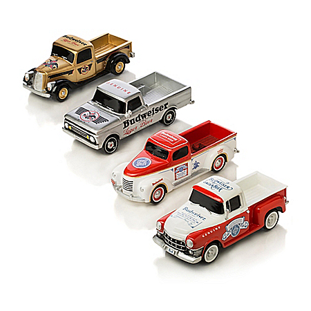 Budweiser 1:43 Scale Classic Pickup Truck Sculpture Collection with Iconic Logos