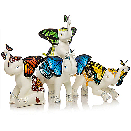Wings Of Enchantment Hand-Painted Elephant Figurine Collection
