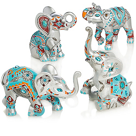 Southwestern-Style Elephant Figurine Collection with Faux Gems