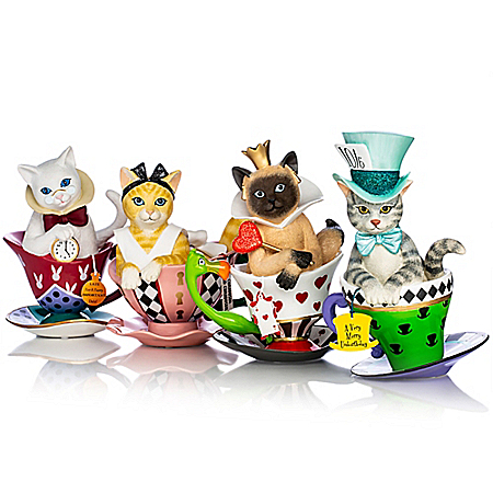 Disney Tea-lightful Wonderland Hand-Painted Cat Figurine Collection