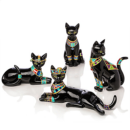 Handcrafted Pharaoh Cat Figurines with Egyptian Symbols and Swarovski Crystals