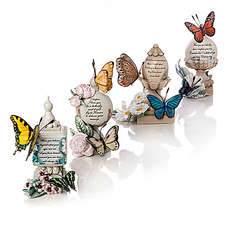 Lena Liu Butterfly Art Remembrance Figurines: Handcrafted and Hand-Painted
