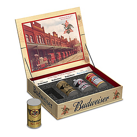 Evolution Of The Budweiser Can Collection With Display