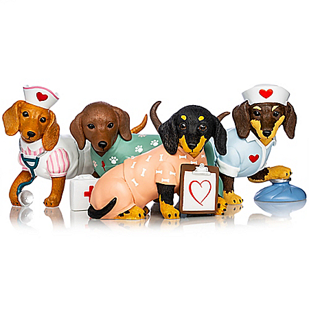 Tender Paw-ing Care Hand-Painted Dachshund Nurse Figurine Collection