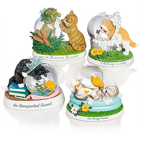 Kayomi Harai Cats With Glitter Globes Figurine Collection