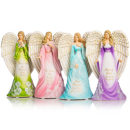 Thomas Kinkade's Amazing Grace Angels Hand-Painted Figurine Collection